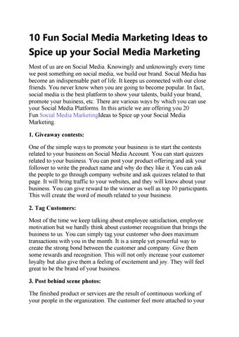 10 Fun Social Media Marketing Ideas to Spice up your Social