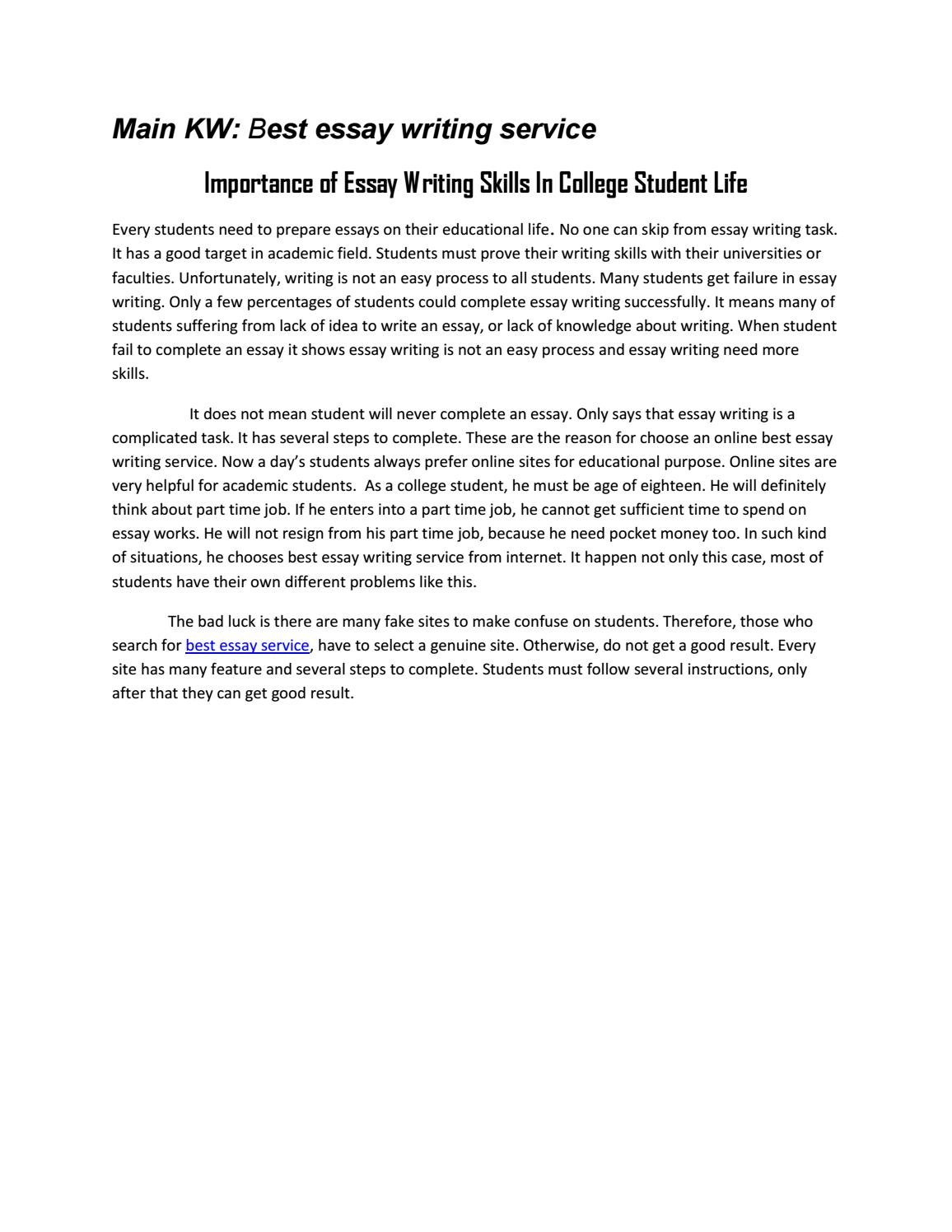 Importance of Essay Writing Skills In College Student Life