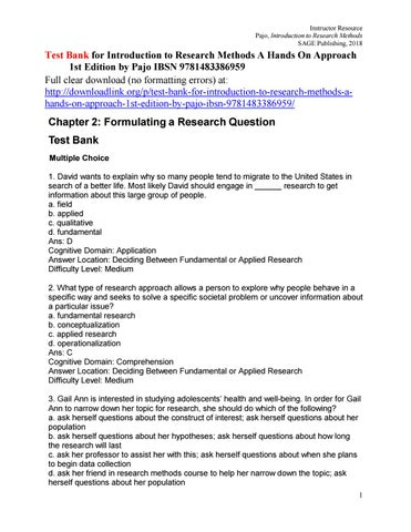 Test Bank for Introduction to Research Methods A Hands On