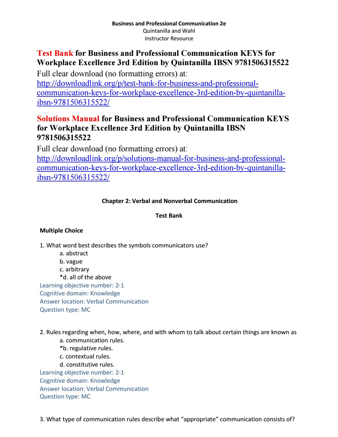 Test Bank for Business and Professional Communication KEYS for Workplace  Excellence 3rd Edition by Q by Gardner451 - issuu