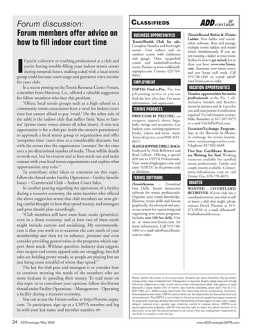 Page 26 of Forum discussion: Forum member offer advice on how to fill indoor court time