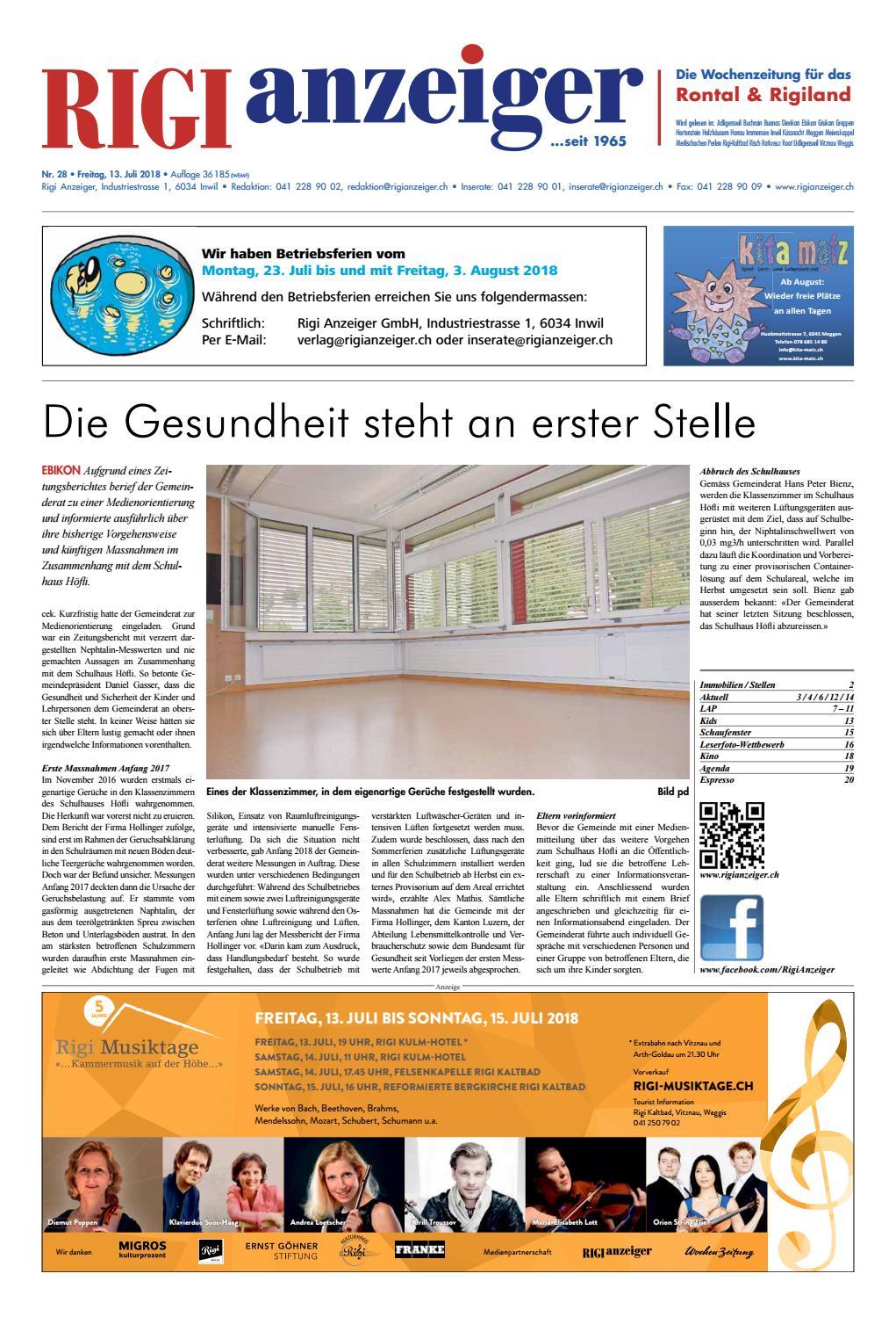 Rigi Anzeiger, 13. Juli 2018 by Rigi Anzeiger GmbH - issuu