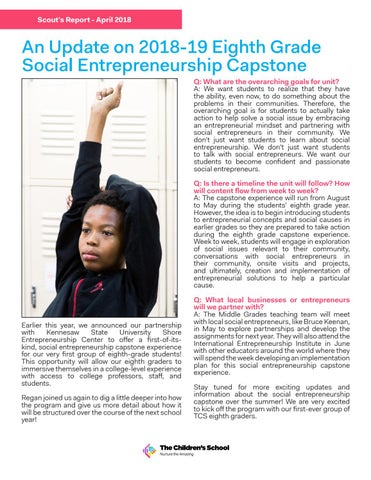 Page 5 of An Update on 2018-19 Eighth Grade Social Entrepreneurship Capstone