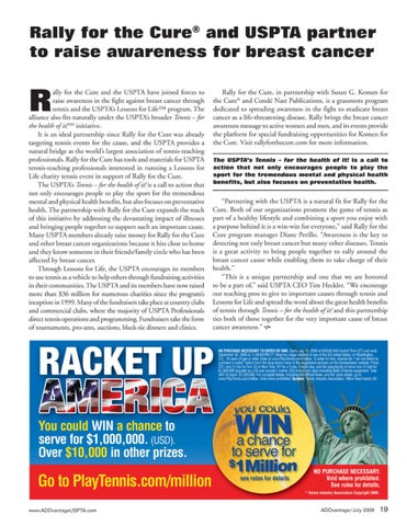 Page 21 of Rally for the Cure and USPTA partner to raise awareness for breast cancer