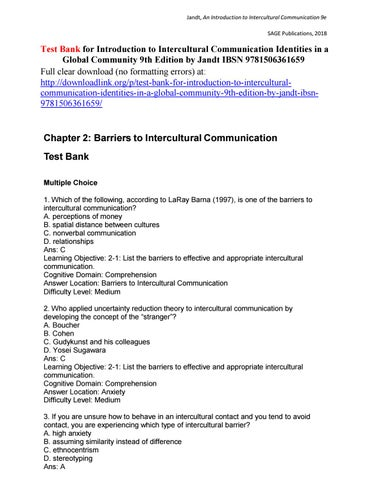 Test Bank for Introduction to Intercultural Communication