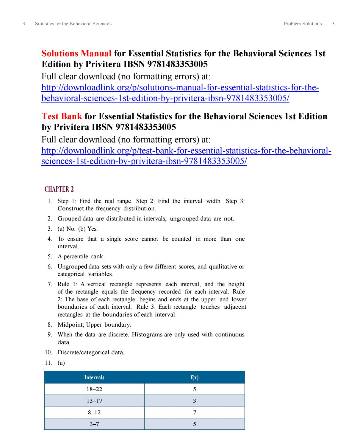 Solutions Manual for Essential Statistics for the Behavioral Sciences 1st  Edition by Privitera IBSN by Privitera475 - issuu