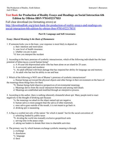 Thesis Example Essay The Production Of Reality Sixth Edition Jodi Obrien English Essays For High School Students also Expository Essay Thesis Statement Test Bank For Production Of Reality Essays And Readings On Social  English Essay Websites