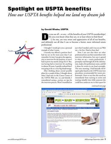 Page 9 of Spotlight on USPTA benefits: How our USPTA benefits helped me land my dream job