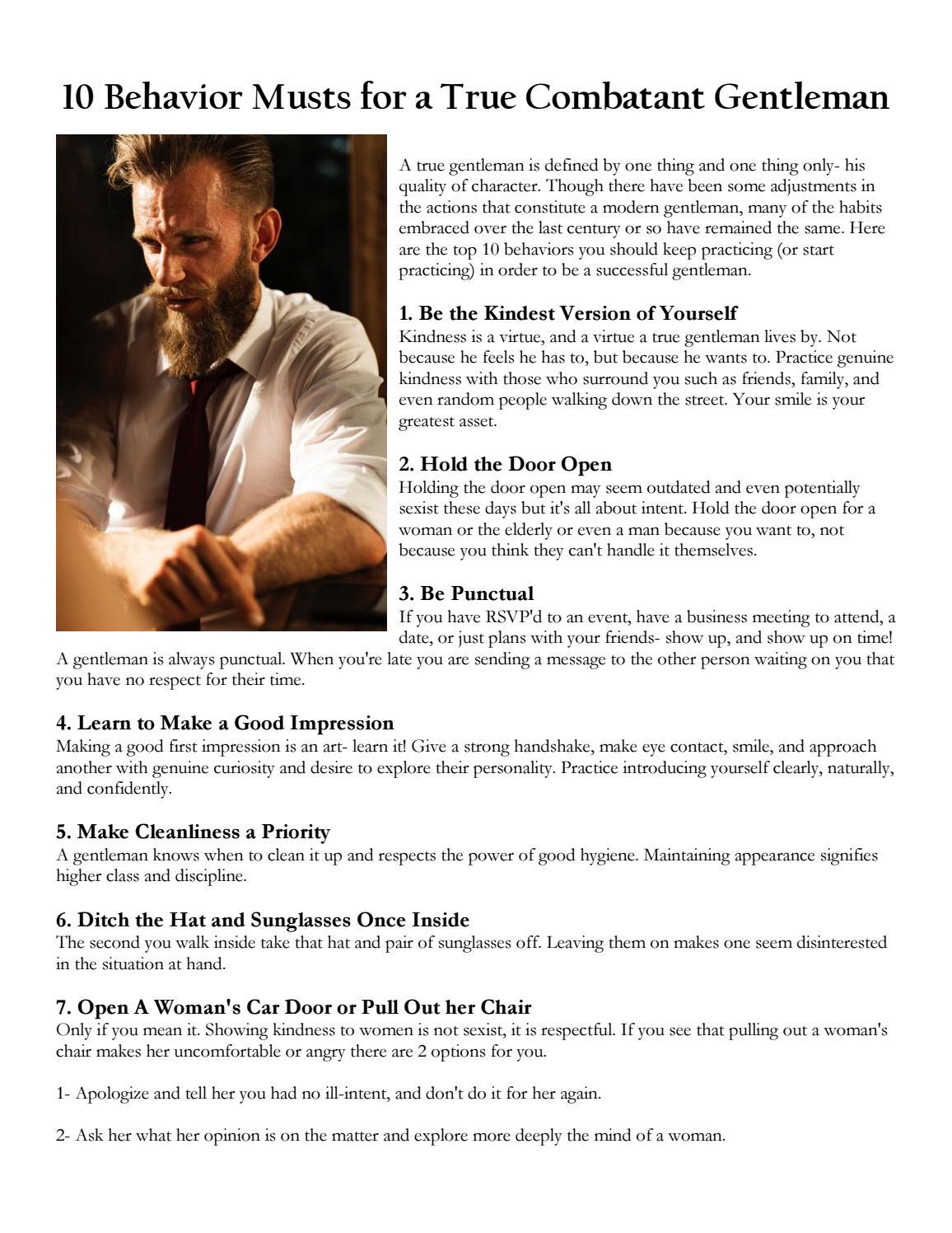 10 Behavior Musts for a True Combatant Gentleman by