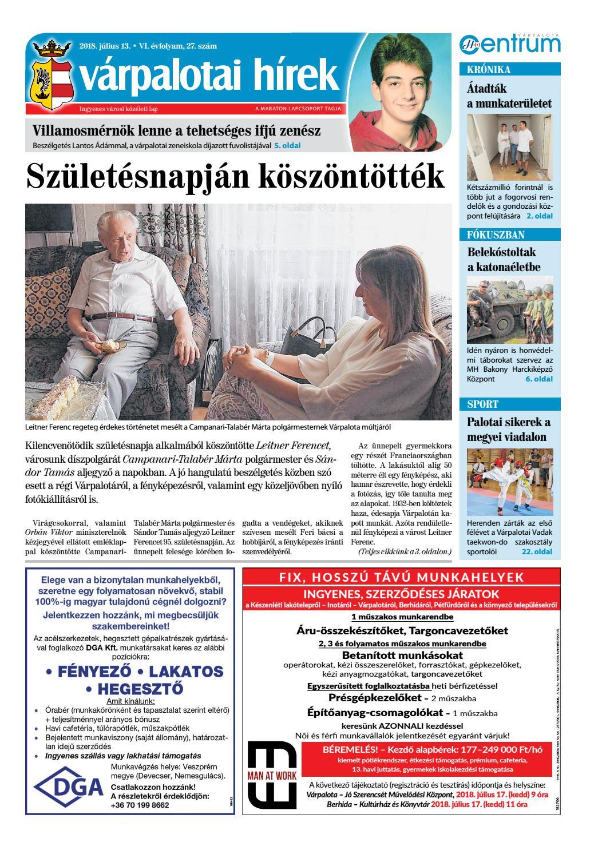 Várpalotai Hírek - 2018. 07. 13. by Maraton Lapcsoport Kft. - issuu b58cdadadf