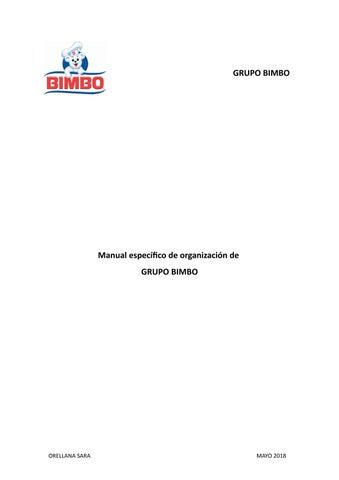 Manual Específico De Organización Grupo Bimbo By Sara