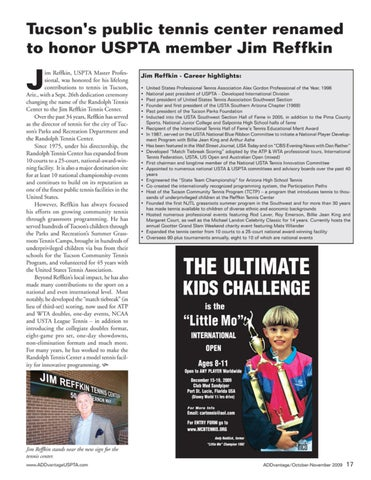 Page 19 of Tuscon's public tennis center renamed to honor USPTA member Jim Reffkin