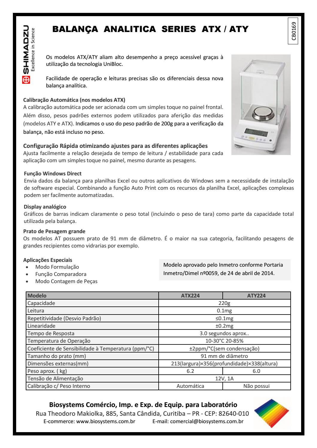 acce06e5b CB0169 - Balança analítica série ATX/ATY - Shimadzu by Biosystems  Importadora Ltda - issuu