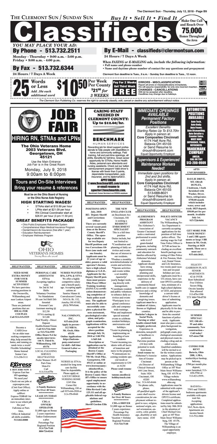Clermont Sun Classifieds July 12 2018 By Clermont Sun Publishing
