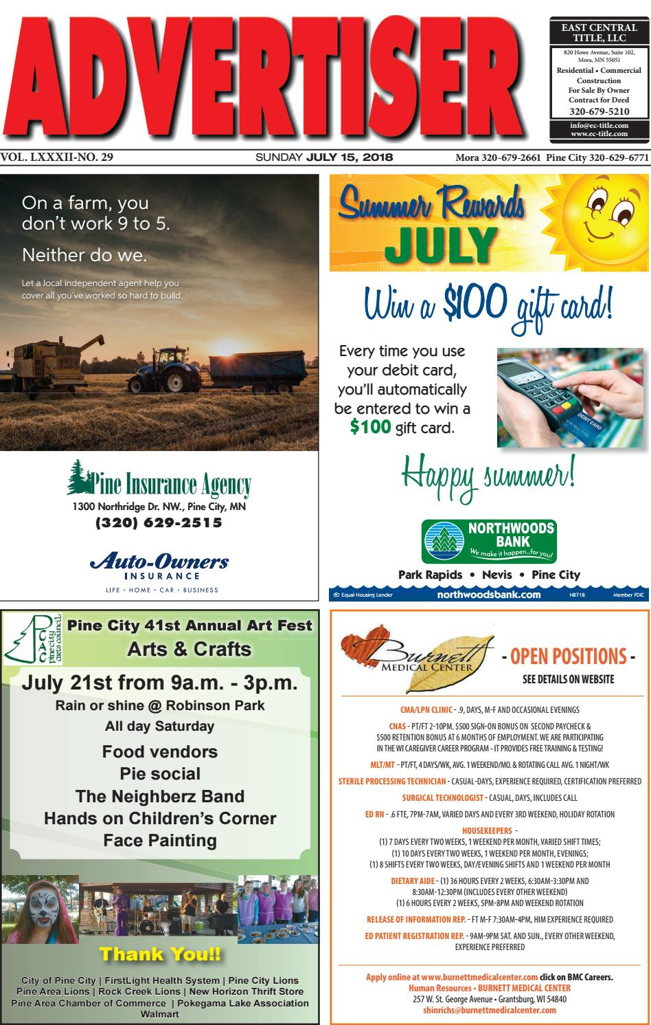 aec85c94e4a3a0 Pine Advertiser 71518 by Kanabec County Times/Pine City Pioneer - issuu
