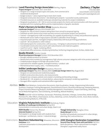 Landscape Designer - Resume - Zachary Taylor by Zachary Taylor - issuu