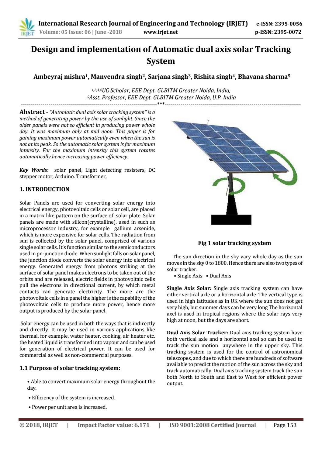Irjet Design And Implementation Of Automatic Dual Axis Solar Tracking System By Irjet Journal Issuu