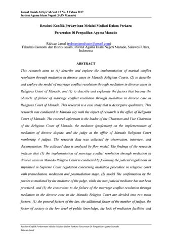 Resolusi Konflik Perkawinan Melalui Mediasi Dalam Perkara Perceraian Di Pengadilan Agama Manado By Jurnal Ilmiah Al Syir Ah Issuu