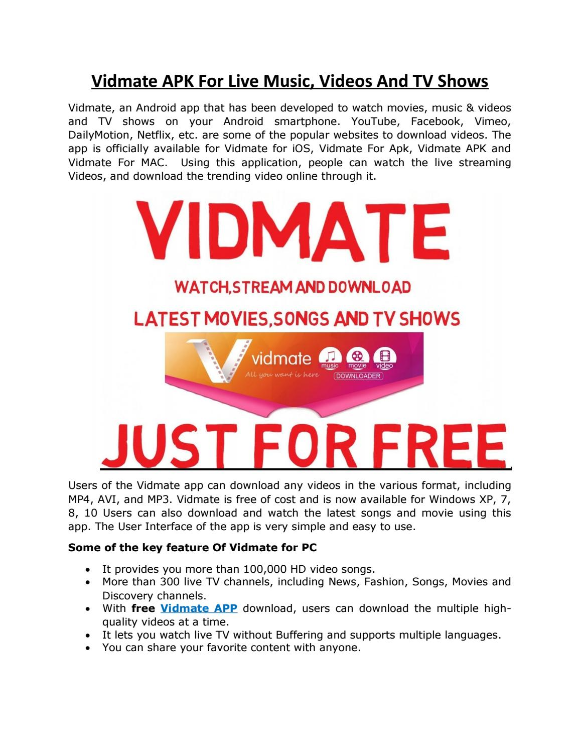 Vidmate APK For Live Music, Videos And TV Shows by