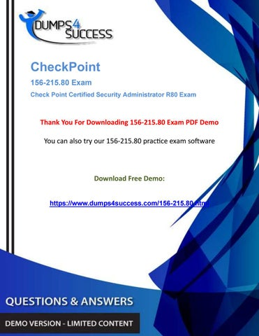 CCSA 156-215 80 Dumps Questions - Pass CheckPoint Network