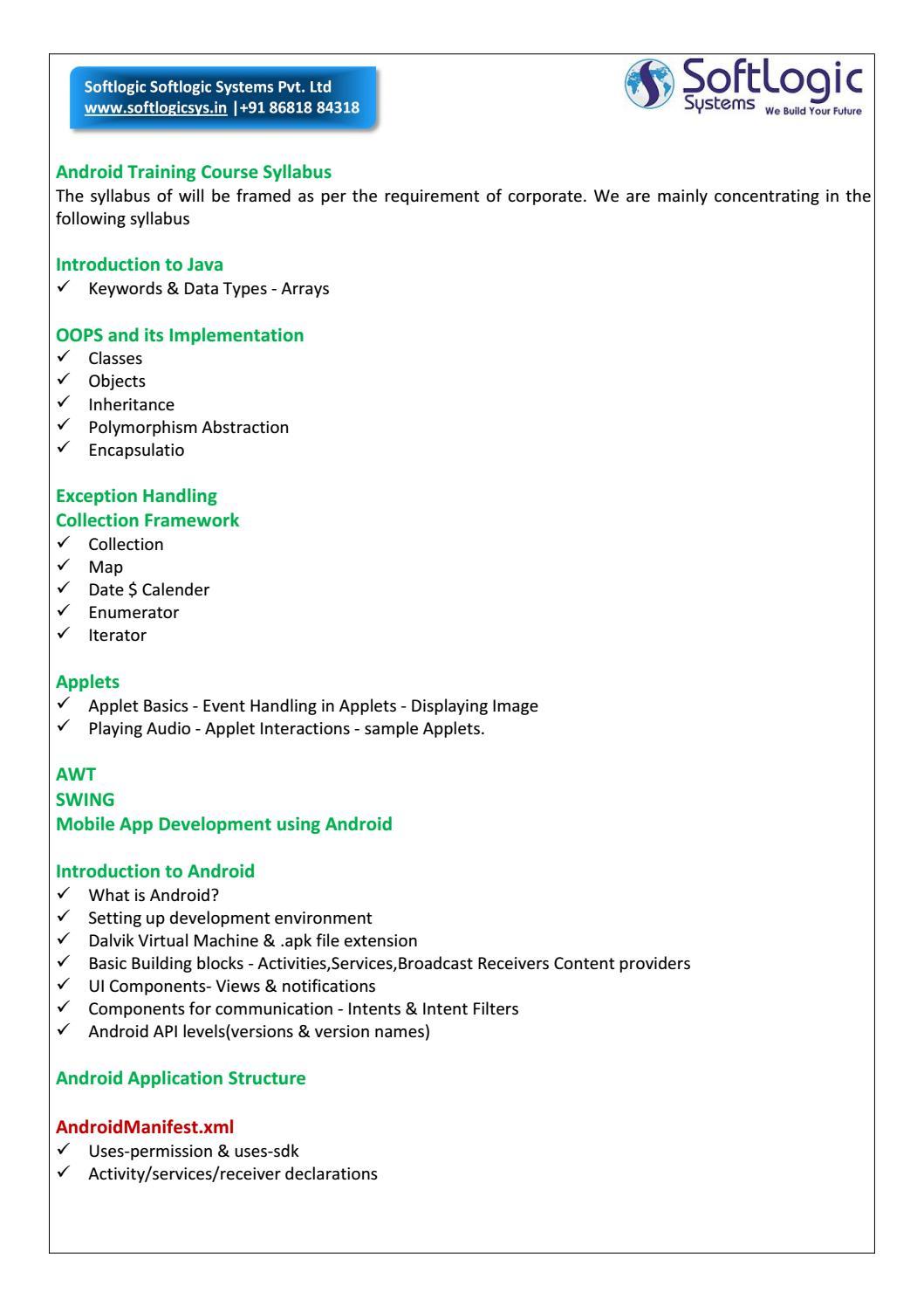 Softlogic - Android Training Course Syllabus by Softlogic