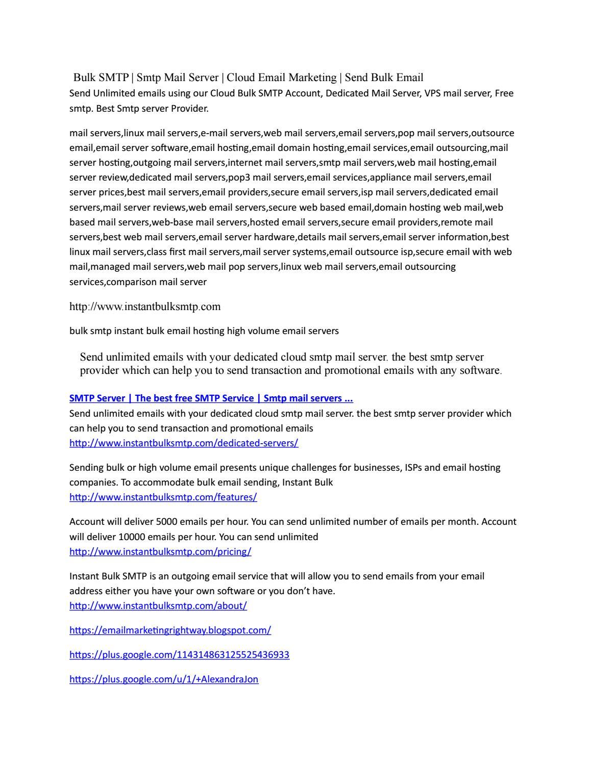 Bulk SMTP | Dedicated Mail Server | Email Marketing | Send Bulk