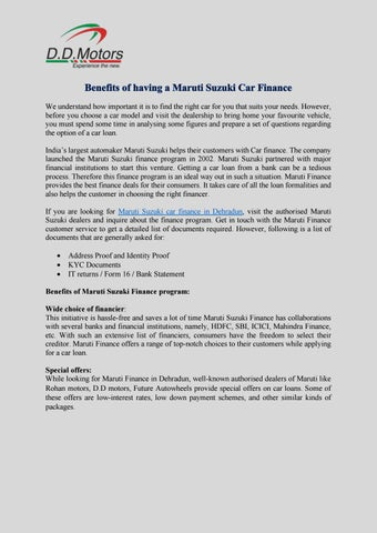Benefits of having a Maruti Suzuki Car Finance by