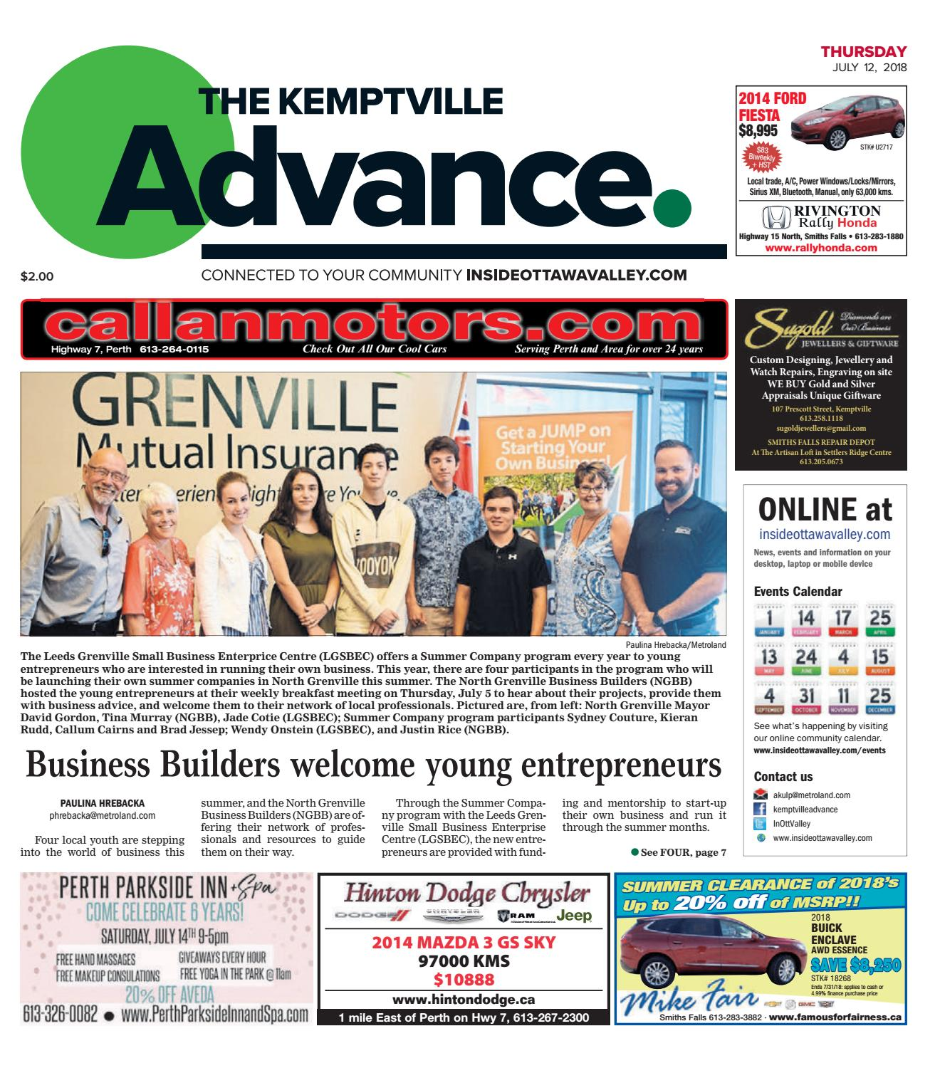 Kemptville Advance July 12 2018 By Metroland East Expedition E 6698 B Silver Rose Gold White Issuu