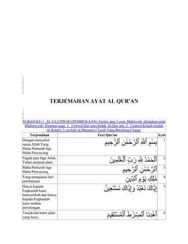 Surat Al Fatihah Arab Surat Al Fatihah Latin Surat Al