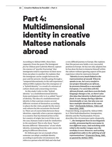 Page 22 of Multidimensional identity in creative Maltese nationals abroad