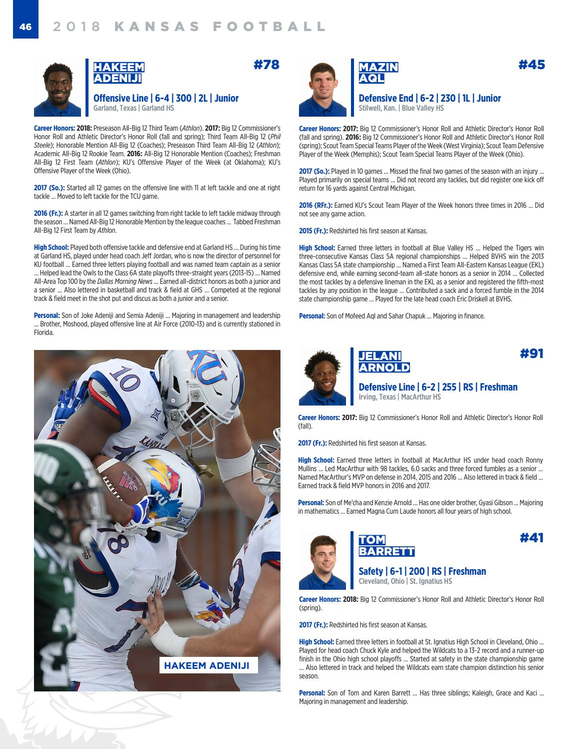 2018 Kansas Football Media Guide by Kansas Athletics - issuu