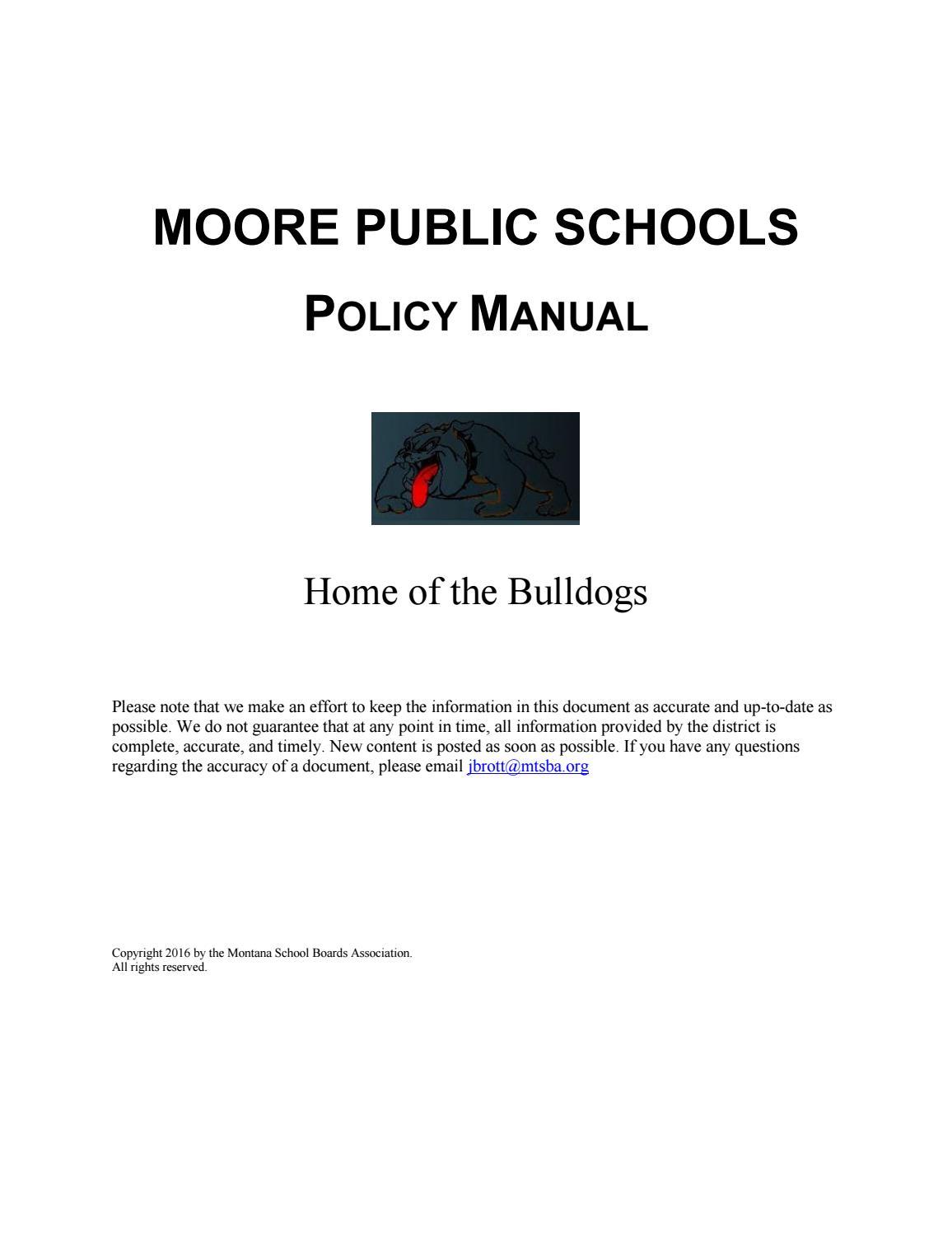 Moore Public Schools Policy Manual by Montana School Boards