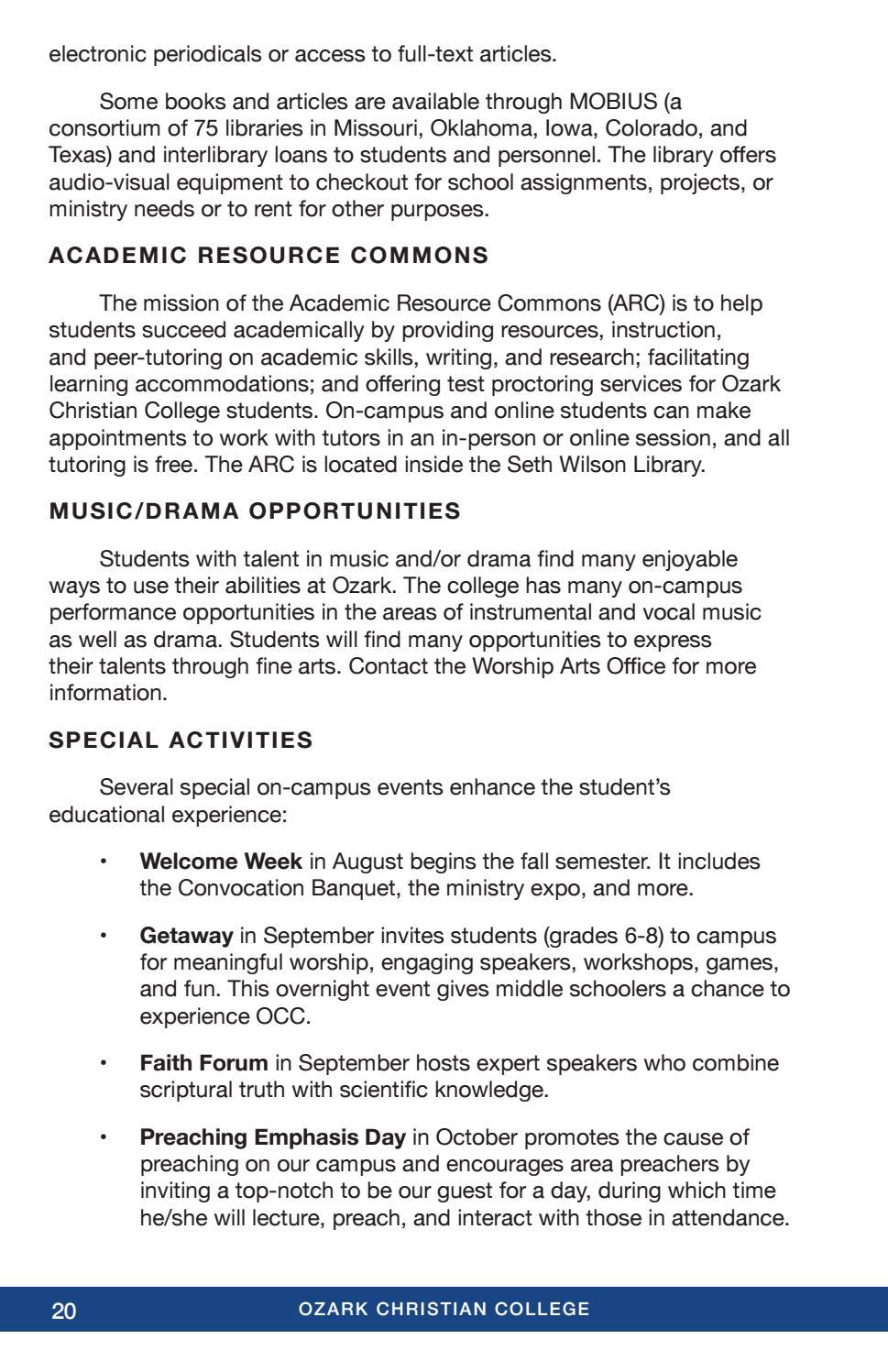 OCC 2018-19 Academic Catalog by Ozark Christian College - issuu