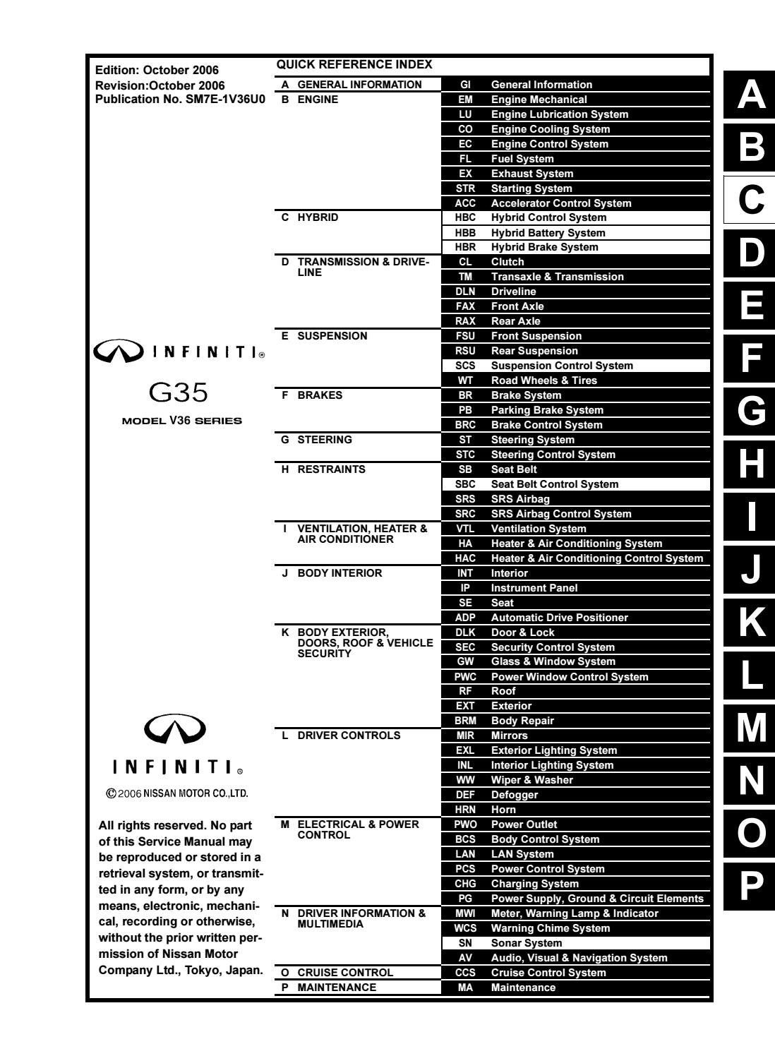 2007 INFINITI G35 SEDAN Service Repair Manual by 163215 - issuuIssuu