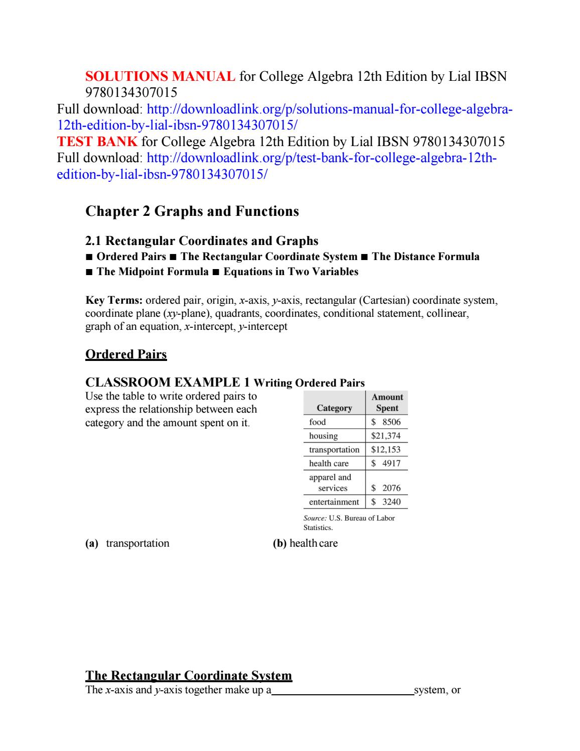 Solutions manual for college algebra 12th edition by lial ibsn  9780134307015 by groutz - issuu