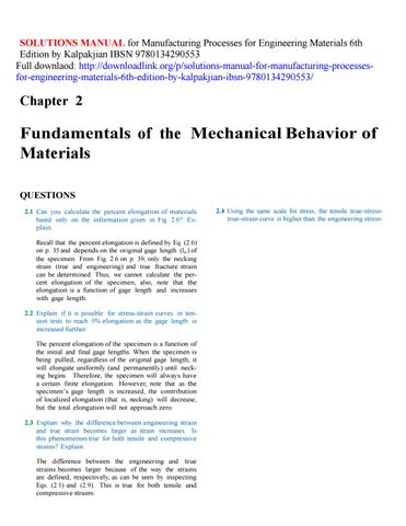 Solutions manual for manufacturing processes for engineering