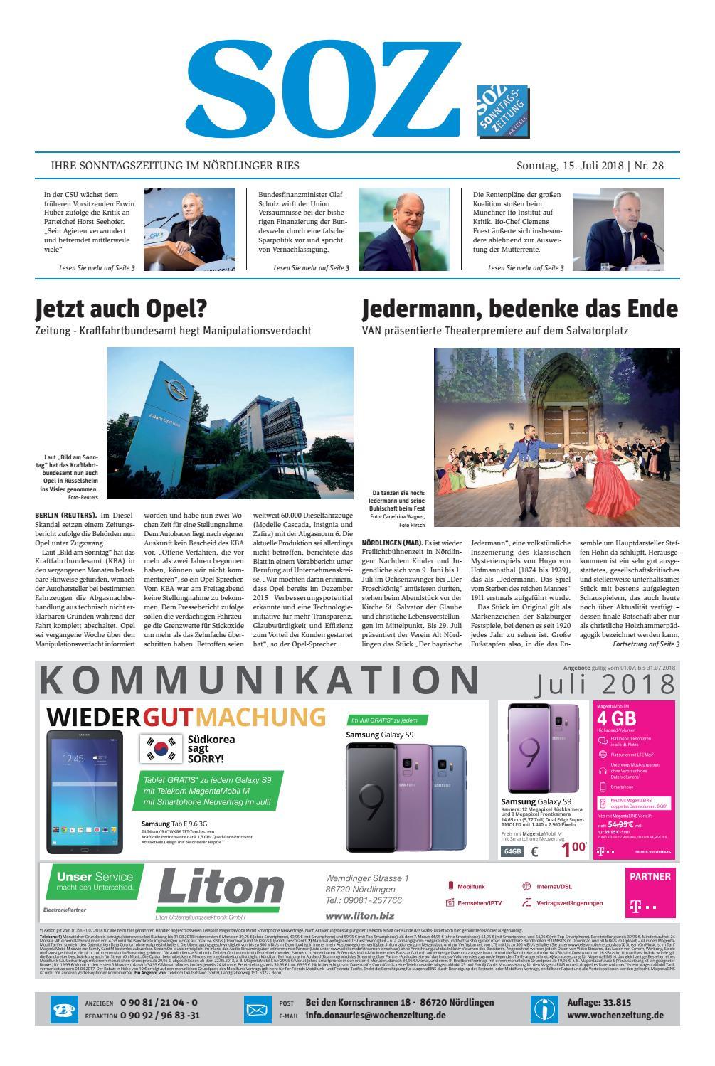 Sonntagszeitung Kw 28 18 By Wochenzeitung Issuu
