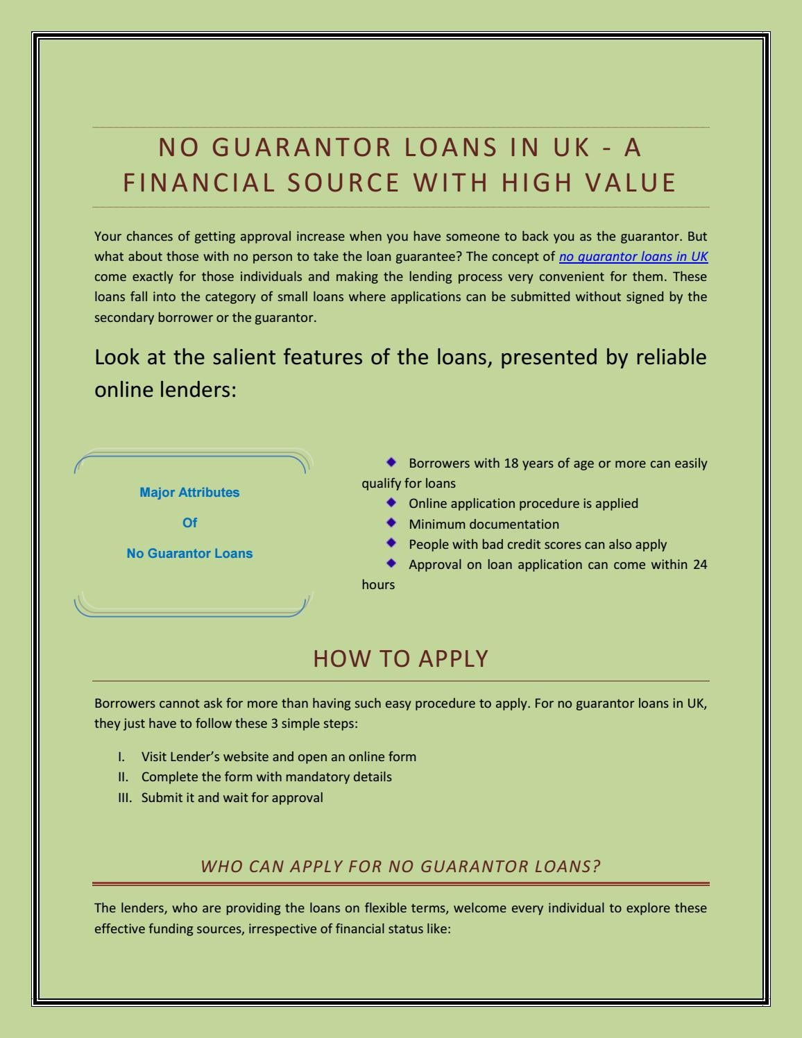 No Guarantor Loans in UK - A Financial Source with High Value by