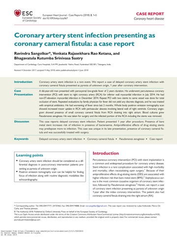 Coronary stent infections clinical case report ESC 2018 by Dr Ammar