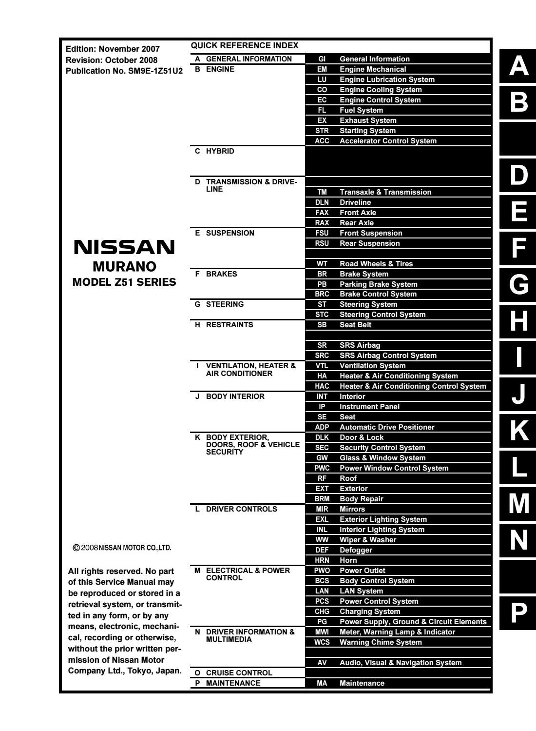 2009 Nissan Murano Service Repair Manual By 163215 Issuu