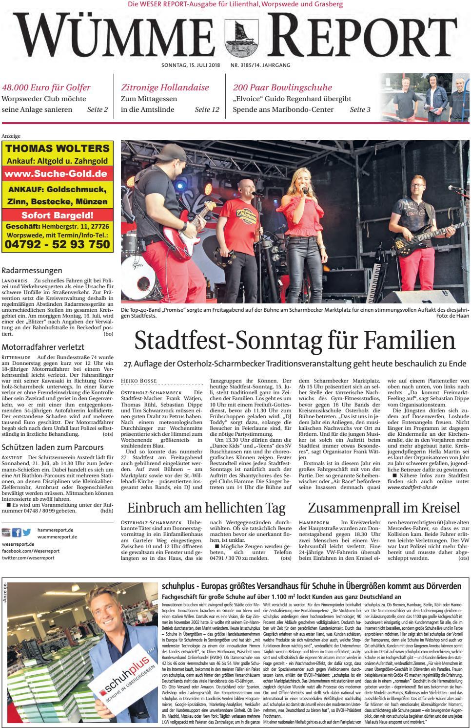 Wümme Report vom 15.07.2018 by KPS Verlagsgesellschaft mbH - issuu