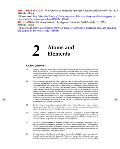 Solutions Manual For Chemistry A Molecular Approach Canadian