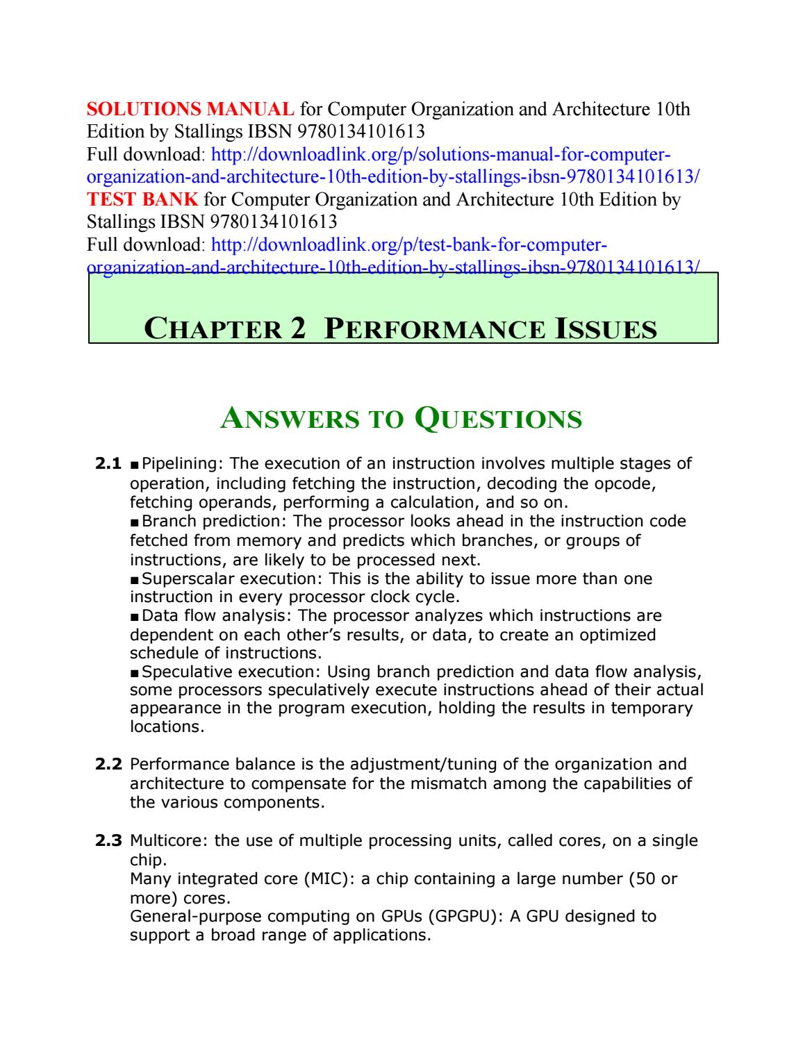 Solutions Manual For Computer Organization And Architecture 10th Edition By Stallings Ibsn 978013410 By Gracezz Issuu