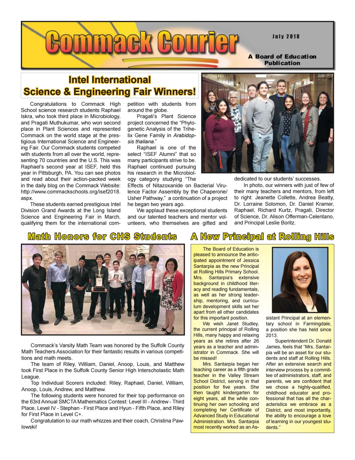 Commack Courier July 2018 By Commack Public Schools Issuu