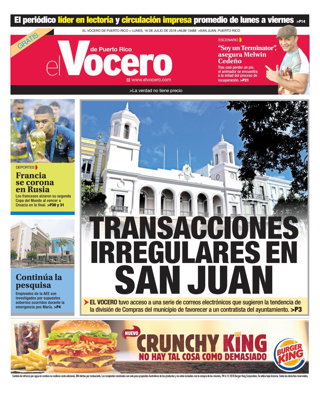 Edición del 16 de julio de 2018 by El Vocero de Puerto Rico - issuu 5cd90d292e76d