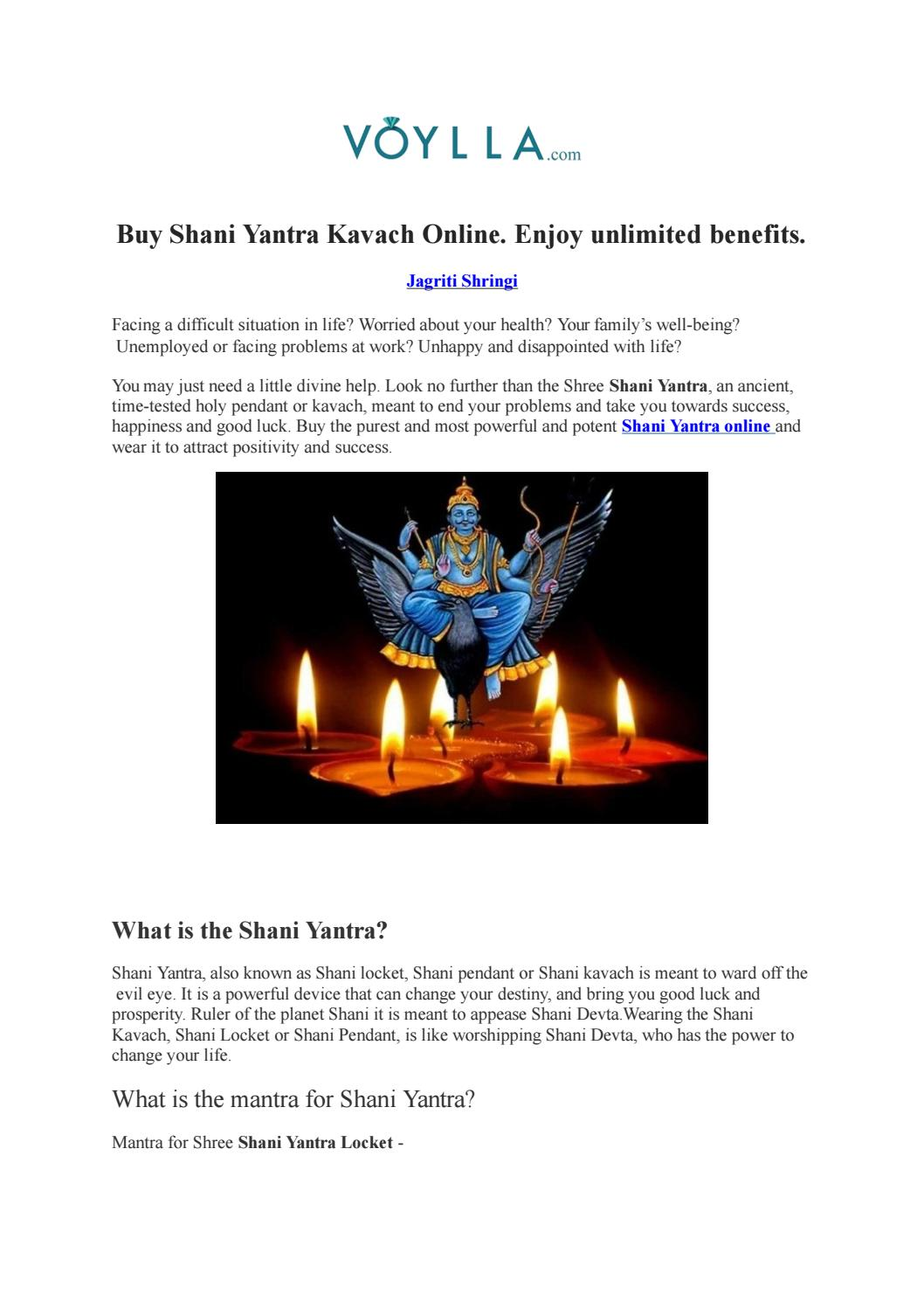 Buy Shani Yantra Kavach Online  Enjoy unlimited benefits  by