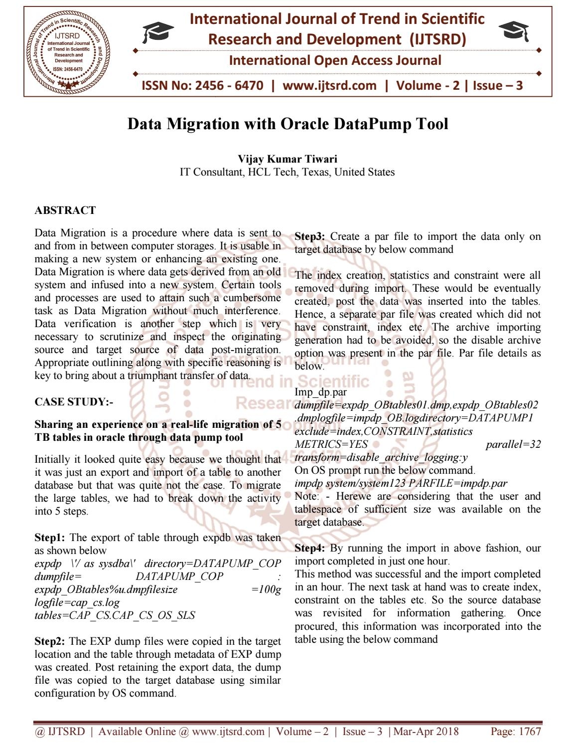Data Migration With Oracle DataPump Tool by International Journal of