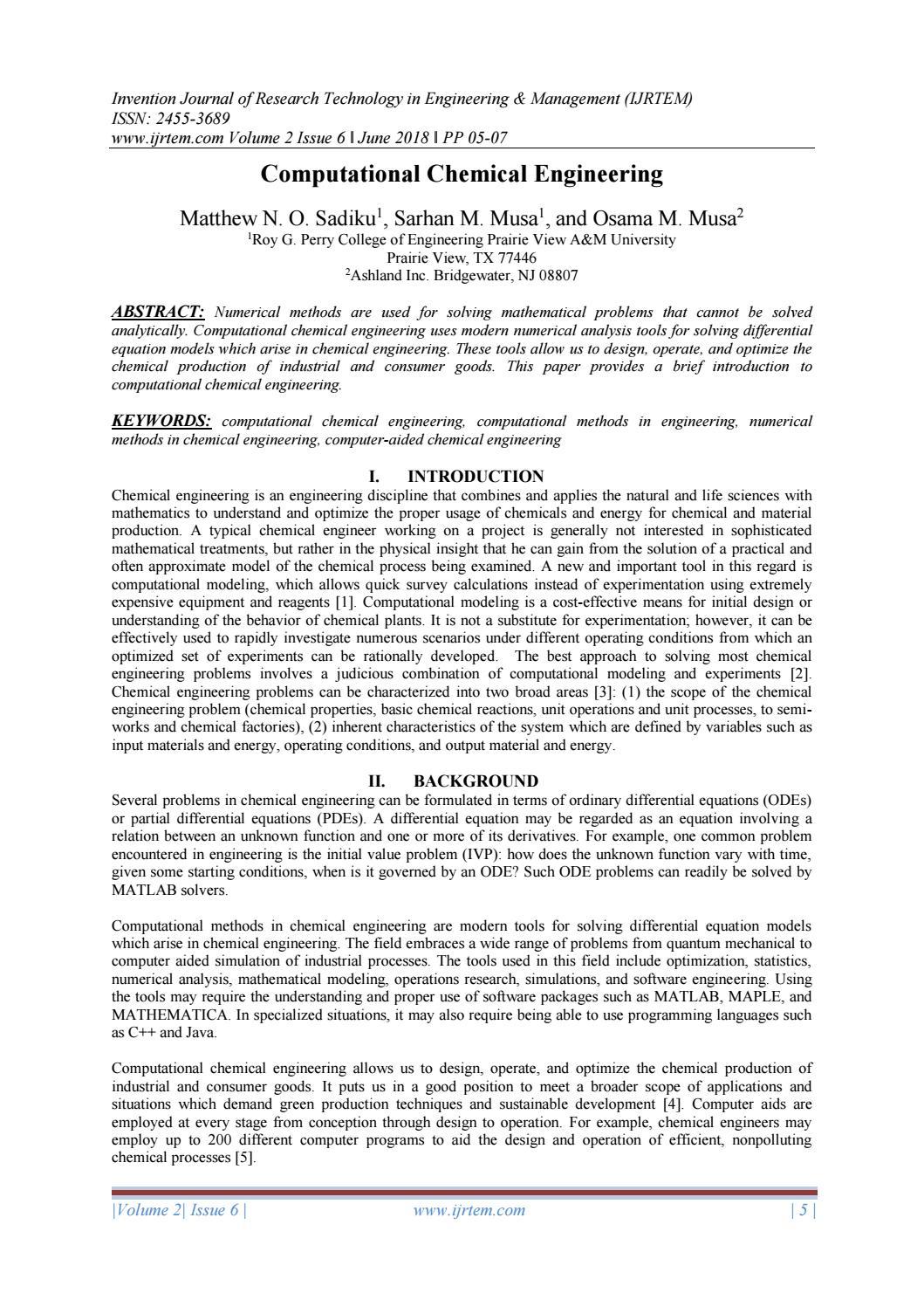 Computational Chemical Engineering By Journal Ijrtem Issuu