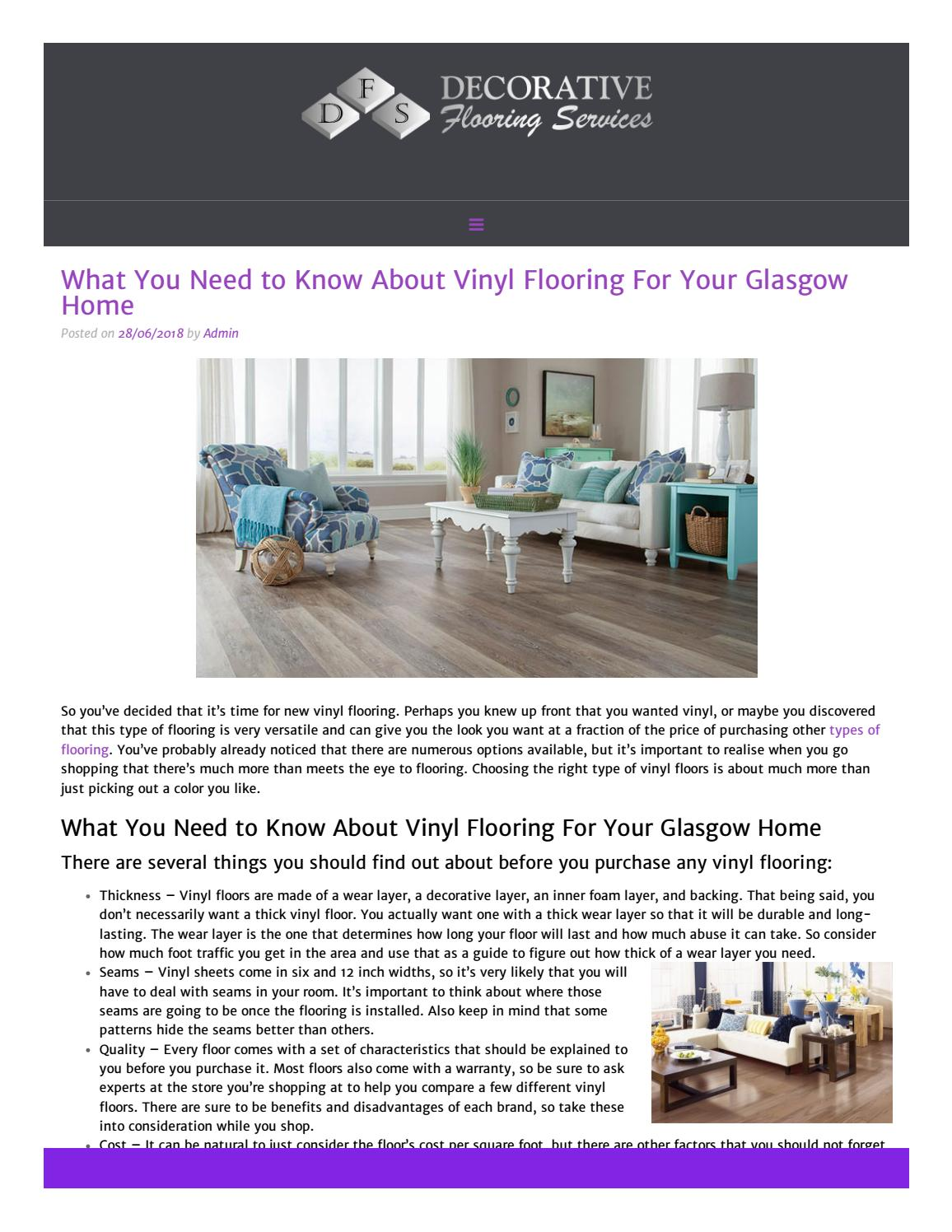 What You Need To Know About Vinyl Flooring For Your Glasgow Home