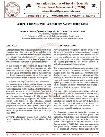Android based Digital Attendance System using GSM by
